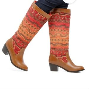 ShoeDazzle sz 7 Overthrow tapestry brown tall boot